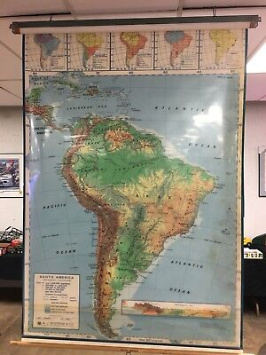 Vtg School World Pull Down Map Classroom Nystrom Heritage USA South America