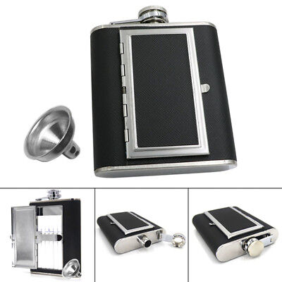 Mini Dual Use Hip Flask Built-in Cigarette Case Stainless Steel Funnel Set GYTH