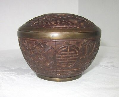 Antique Chinese Tea Caddy Bowl Carved Coconut Covered With Pewter RARE
