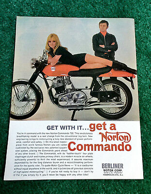 Original 1969 Norton Motorcycle Magazine Ad Fastback Commando 750 Poster?