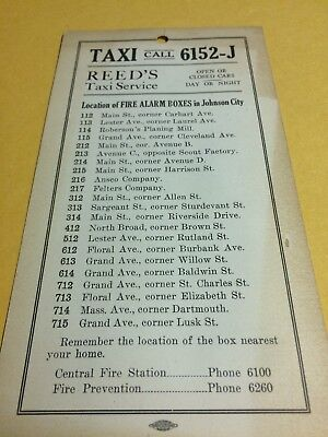 Johnson City Ny Location Of Fire Alarm Boxes Card From Reed's Taxi Service
