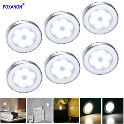 6LED Light PIR Wireless Auto Sensor Motion Detector Bulb Wall Cabinet Night Lamp