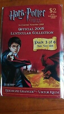Harry Potter & The Goblet of Fire Lenticular  Trading Card 2005 Pack 3 - 6 Seal