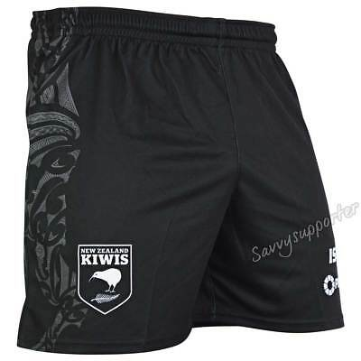 New Zealand Kiwis 2018 NRL Mens Black Training Shorts Sizes S-5XL BNWT