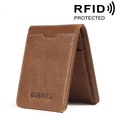 Slim Bifold Wallet Genuine Leather Men Money Clip RFID Blocking Thin Card Pocket