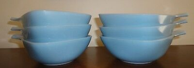 Set of 6 Vintage Retro Blue Crown Pyrex Ramekins with handles