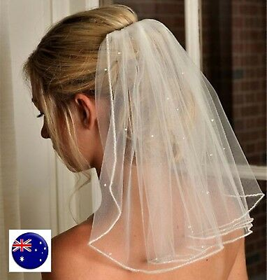 Women white Bride HEN'S NIGHT Party Wedding lace Hair head Short Veil WITH COMB