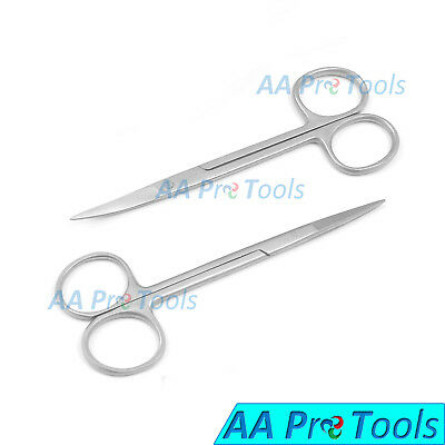 """AA Pro: 2 Pcs Iris Scissor 4.5"""" Curved and Straight Surgical Instruments"""