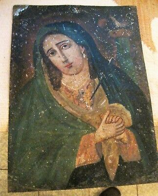 Original Antique Retablo On Tin With Image Of Our Lady Of Sorrows 10'' By 14''