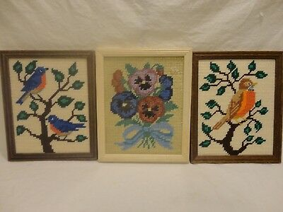Finished Needlepoint Framed Blue Birds Robin Spring Flowers