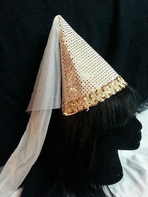 Medieval Cone Hat Veil Princess Maiden Costume Halloween Cream Sparkly One Size