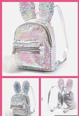 justice girls bunny flip sequin mini backpack bleach white new