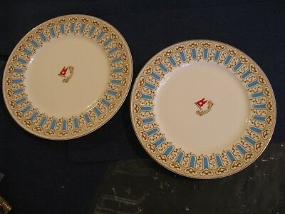 """TWO WHITE STAR LINE """"TITANIC """" Turquoise & Brown Pattern DINNER PLATES"""