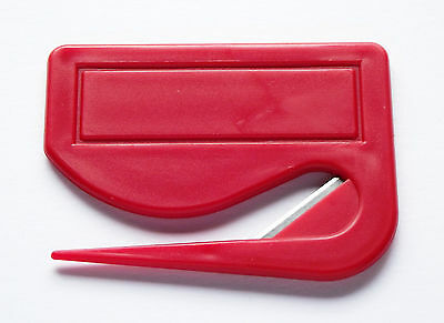 Letter Opener from Plastic with Integrated Blade, Red, Amounts Selectable