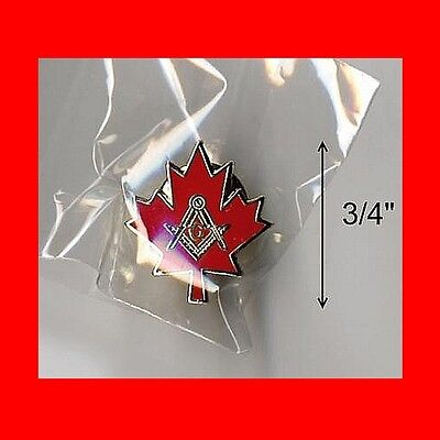 "Rare Canada Maple Leaf:lg 3/4""mason Masonic Lapel Pin-Canadian Freemason Masonry"