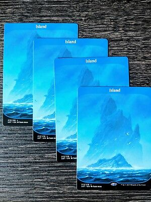 Mtg Unstable Land Full Art Play-Set X4 ( Island 213/216)