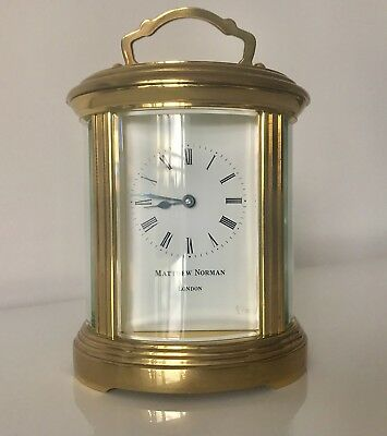 Matthew Norman Vintage Swiss Oval Full-Size Timepiece 8 Day Carriage Clock. Uk