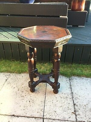 Vintage Panelled Oak Octaganol Tall Side Lamp Table Carved Detail Turned Legs