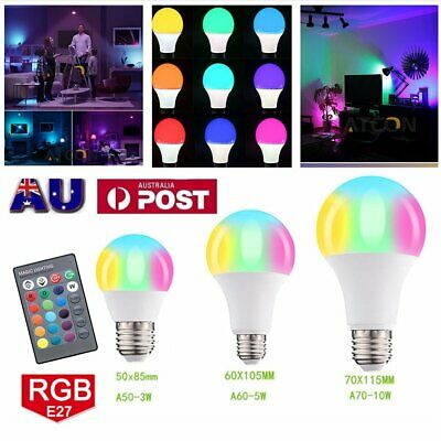 E27 RGB LED Globe Lamp Colour Changing Light Bulb + IR Remote Control 3W/5W/10W