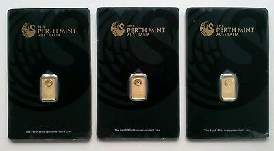 3 X 1 Gram 99.99% Fine Gold Bar - Perth Mint (in Assay - Black)