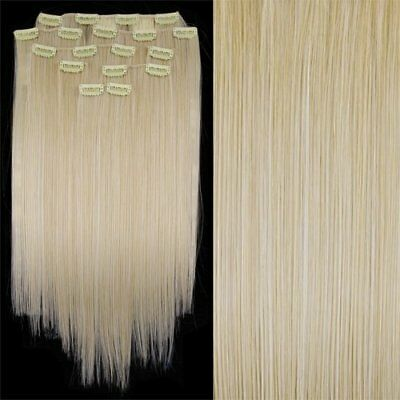 "8 X Extension A Clips De Cheveux Fibre 20"" #60 Blond Y7T9 71"