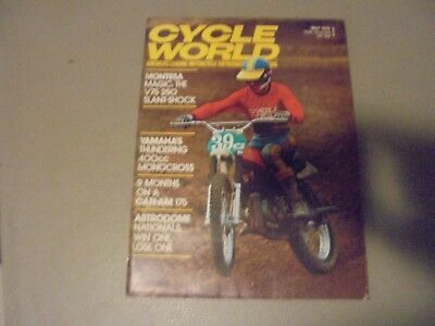 May 1975 Cycle World Magazine,yamahas 400 Monocross,montesa V75 250,can-Am 175