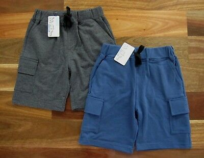 Two New Boys Size 2 Cargo Style Shorts by BQT in Navy Blue & Grey, 100% Cotton