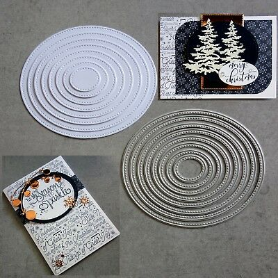 Shopaperartz STITCHED NESTED OVAL OVALS 8 PCE CUTTING DIES CARDMAKING