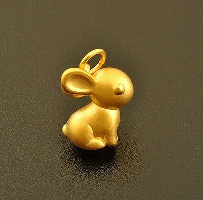 New Fine Pure 999 24K Solid Yellow Gold 3D Bless Lucky Rabbit Pendant 0.8-1g