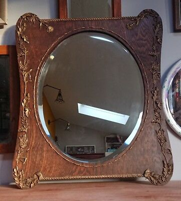 Beautiful Antique Victorian wooden Gilt old wall mirror rustic farmhouse decor