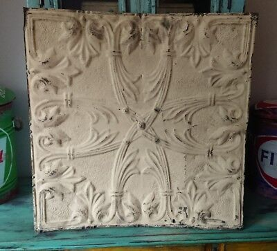 architectural antique salvaged American tin ceiling tile Ohio 1898-1901 large!