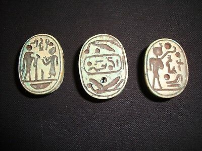 Rare Antique Ancient Egyptian 3 Scarab Beetle New Kingdom HIEROGLYPHS 600-300 BC