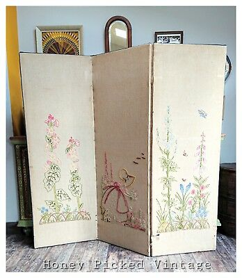 1930s embroidered Antique Canvas Three Panel Screen Detail Room Divider stitched