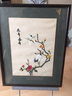 Vintage Black Framed Chinese Silk Embroidery Picture Birds Cherry Tree Flowers