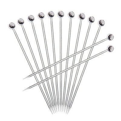 12pcs Stainless steel Cocktail Picks, Professional 4 inch Fruit Stick Tooth D4E0