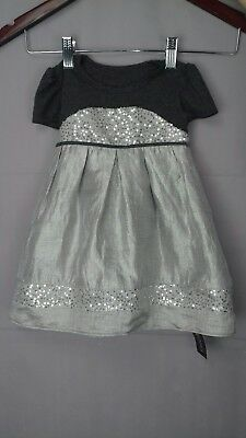 12 -18 MTHS NEW Xmas Party Silver& Grey Sequined Jersey Bodice Frilled Lining