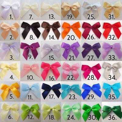 Satin Ribbon Bows Self Adhesive Large 5cm,Pack of 6 Bows,Wedding Bow,Craft Bow,