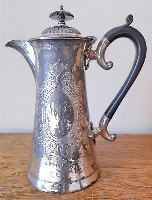 ANTIQUE 1850-90 VICTORIAN  ORNATE CHASED SHEFFIELD SILVER PLATED 1Pt COFFEE POT