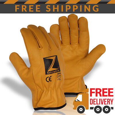 x 3 Pairs Z-Safety-Gear Fleece Lined Leather Winter Thermal Cold Work Gloves PPE