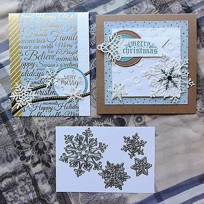 Shopaperartz SNOWFLAKES CHRISTMAS SET OF 4 CUTTING DIES FITS SIZZIX CUTTLEBUG