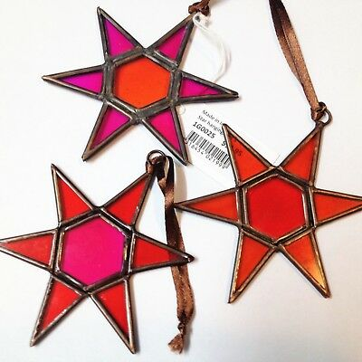 New - Pack x 3 Brass & Stained Panel Stars - Hanging Ornaments - Each 10cm D