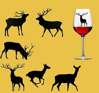 6x Stag And Deer Vinyl Wall Stickers Christmas Stag Xmas Deer Vinyl Decal Glass