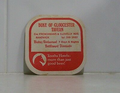 Collectable Beer Coaster  Tooth Hotels - Duke of Gloucester Tavern, Randwick NSW