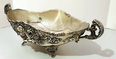Vintage SILVER PLATed Candy Dish BOWL Floral Pattern - Tarnished L32xW15xH19cm