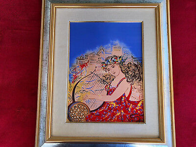 Limited edition painting 'Girl with the lyre' by Giorgos Stathopoulos s: 30 x 40