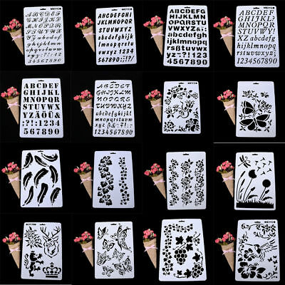 3STYLE Alphabet Number Layering Stencils Painting Scrapbooking Paper