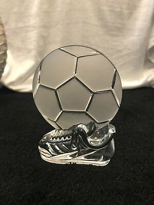 Football Trophy Crystal Clear Glass Ornament Trophy Gift