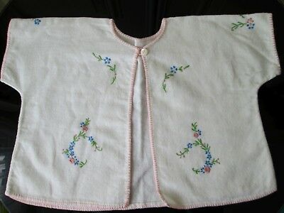 Vintage 40s/50s Baby jacket cardigan - handmade embroidered - pink edging (a)