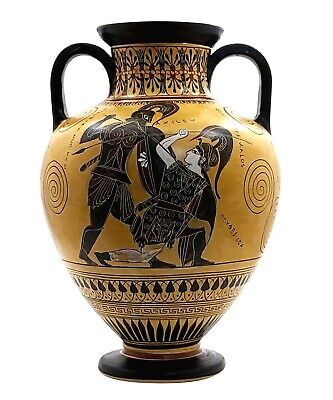 Amphora Achilles slaying Penthesilea Ancient Greek Vase Pottery Museum Copy 530