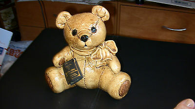 KIDDIE LITES Teddy Bear Piggy Bank Ceramic Hand Painted
